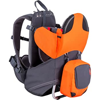 phil&teds Parade Child Carrier Frame Backpack, Orange – Compact, Lightweight (4.4lbs) – Holds a 40lb Child – Ergo Fit Harness – Waterproof – Minipack Included - 2 Year Guarantee