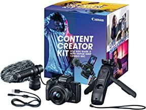 Canon EOS M50 Mark II Kit Creador de contenido, kit de cámara Vlogging 4K sin espejo incluye lente EF-M 0.591-1.772 in, empuñadura de trípode, micrófono estéreo