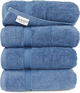 SALBAKOS Luxury Bath Towels - 4-Piece Large Blue Bathroom Hotel Towel Set, Softest 700 GSM Genuine Turkish Cotton Eco-Friendly Bath Towel Set, 27x54 Inches