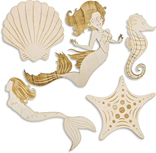 Bright Creations 5-Pack Mermaid Under The Sea Wood Cutouts for DIY Crafts, Painting, 5 Designs, Assorted Sizes