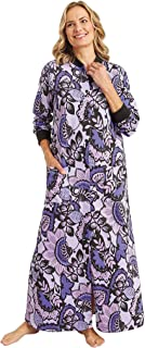 AmeriMark Fleece Long Robe Snap Front Lounger Soft Warm Bathrobe for Women