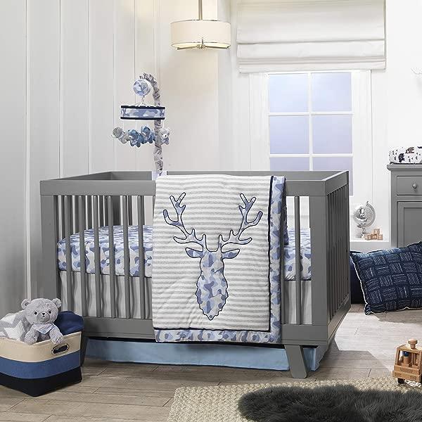 Lambs Ivy Blue Camo Gray Moose 4 Piece Baby Crib Bedding Set Camouflage