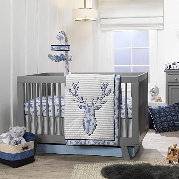 Lambs Ivy Blue Camo Gray Moose 4 Piece Baby Crib Bedding Set Camouflage