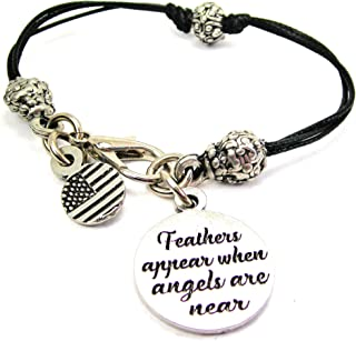 ChubbyChicoCharms Feathers Appear When Angels are Near Pewter Beaded Black Waxed Cord Bracelet