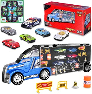 AOKESI Transport Car Carrier Truck Toy Great Gift for Boys Girls Age of 3-10 Year Old (Includes 6 Toy Cars, 6 Construction Signs, 6 Road Blocks, 4 Oil Cones, 1 City Map and 1 Dice)