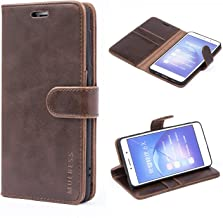 Mulbess Honor 6X Protective Cover, Magnetic Closure RFID Blocking Luxury Flip Folio Leather Wallet Phone Case with Card Slots and Kickstand for Huawei Honor 6X, Coffee Brown