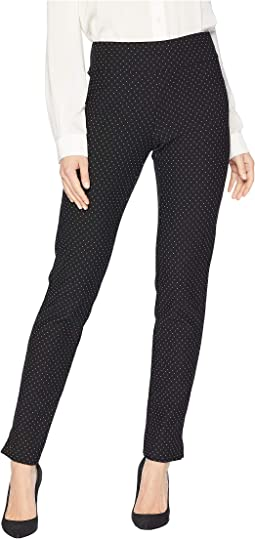Ribbed Pindot Ponte Long Pull-On Pants