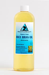 Rice Bran Oil Organic Unrefined by H&B OILS CENTER Raw Virgin Cold Pressed Premium Quality Natural Pure 16 oz