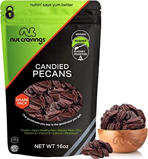 Georgia Pecans, Honey Glazed Candied Praline, No Shell, (16oz - 1 Pound) Packed Fresh in Resealble Bag - Nut Mix Snack - H...