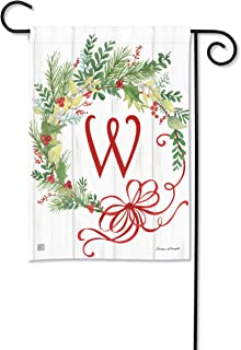 BreezeArt Studio M Winterberry Monogram W Garden Flag - Premium Quality, 12.5 x 18 Inches