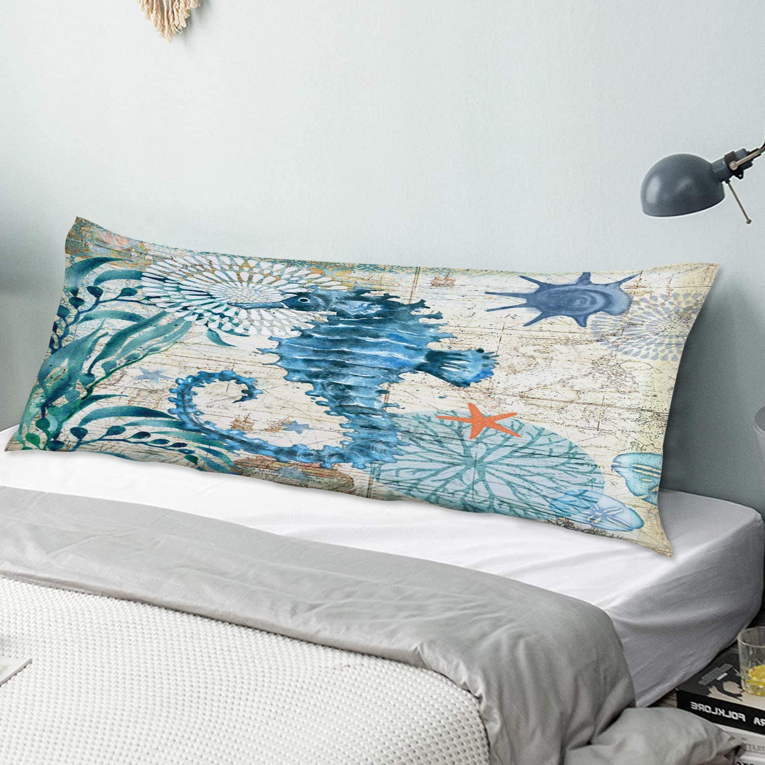 NINEHASA Body Pillow Pillowcase A Large Dark Sea Horse Blue Old Time sale Max 64% OFF