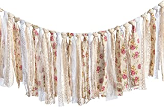 Ling's moment Rag Garland Yarn Tassel Garland Banner Burlap Lace Tassel Garland Floral Print Decor Rustic Wedding Event Party Supplies Shabby Chic Banner 3-6 FT