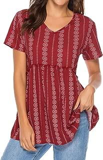 ZXZY Women V Neck Short Sleeve Pleated Floral Print Peplum Shirt Tops Blouse Tee