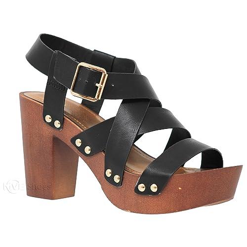 96b2453984 MVE Shoes Women's Ankle Strap Faux Wood Platform Chunky Heel Sandal