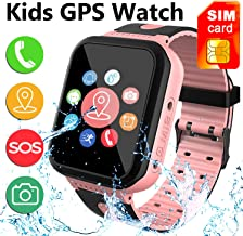 [SIM Card Included] Kids Smart Watch Phone, IP68 Waterproof Smartwatch with LBS/GPS Tracker SOS Phone Alarm Clock Flashlight Back to School Gift for 3-12 Year Old Boys Girls (Pink)