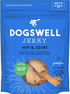 Dogswell 100% Meat Jerky for Dogs, Made in the USA with Glucosamine, Chondroitin & New Zealand Green Mussel for Healthy Hips