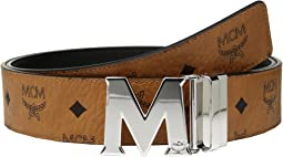 MCM Claus Reversible Silver Buckle Belt