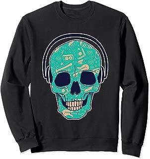 Cool dj skeleton music design, skull with headphones  Sweatshirt