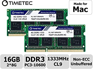 Timetec Hynix IC 16GB(8GBx2) compatible with Apple DDR3 1333MHz PC3-10600 SODIMM Memory Upgrade For selected MacBook Pro/iMac/Mac mini