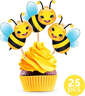 Bumble Bee Cupcake Cake Toppers - Baby Shower Gender Reveal Party Decorations Supplies Birthday - 25 Pieces