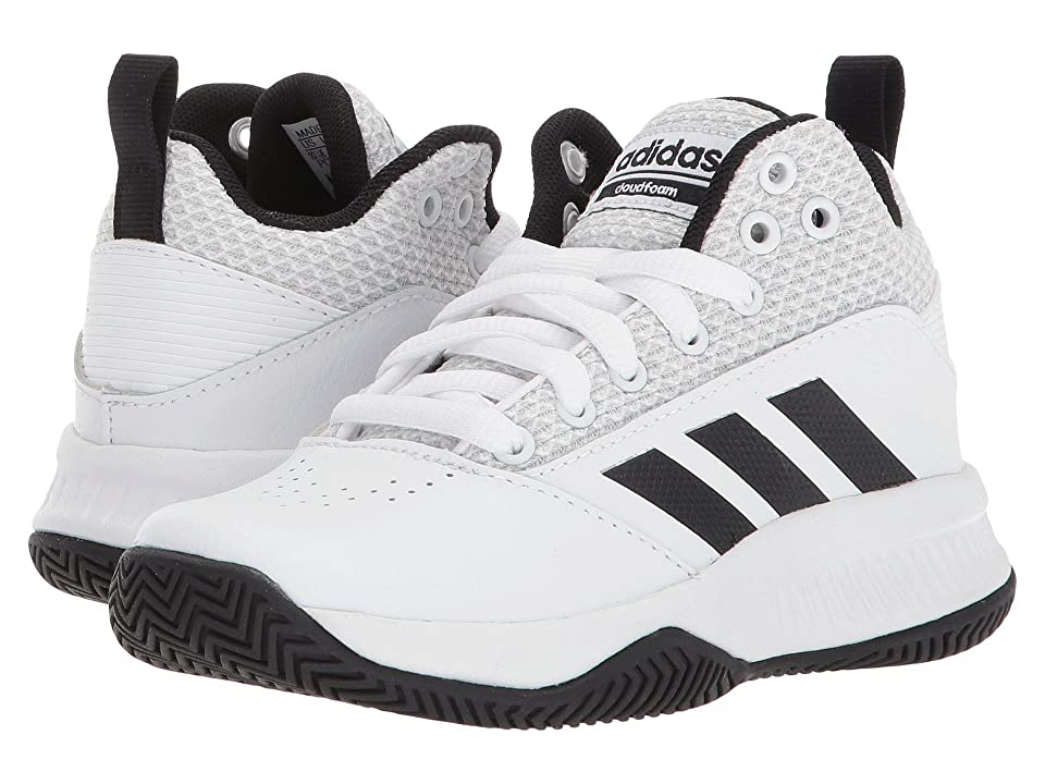 adidas Kids Ilation Mid Basketball (Little Kid/Big Kid) (White/Black/Grey) Boys Shoes