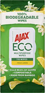 Ajax Eco Multipurpose Antibacterial Disinfectant Biodegradable Compostable Surface Cleaning Wipes Fresh Lemon Bulk Pack 11...