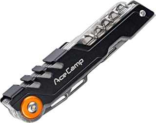 AceCamp 11-in-1 Compact Multi-Tool Pocket Knife, Blade, Saw, Scissors, Corkscrew, Nail File, Screwdrivers, Small Pick, Thread Loop, Bottle and Can Opener