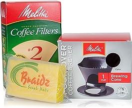 Melitta コーヒーメーカー シングルカップ ポアオーバーコーヒー醸造機 ナチュラルブラウンコーンコーヒーフィルター #2 100枚 ブレイズスクラブパッド