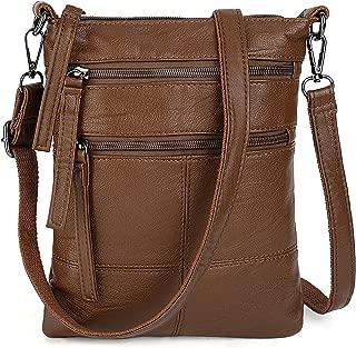 UTO Women Small Crossbody Bag Roomy Multi Pockets Cell Phone iPad-Mini Kindle Holder Shoulder Purse Wallet Bags (Brown)