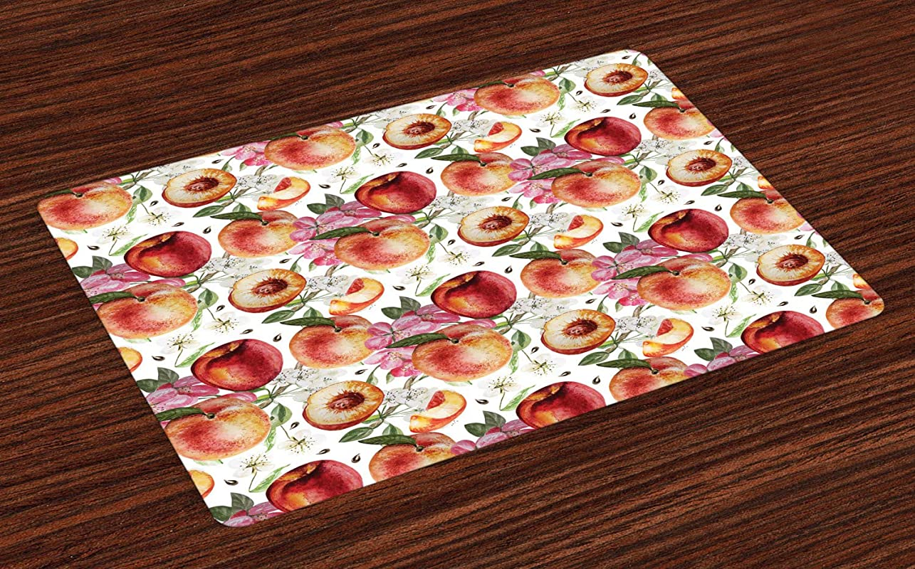 Ambesonne Peach Place Mats Set Of 4 Exotic Lively Summer Yard Theme With Ripe Juicy Fruits Flowers Botany And Gardening Washable Fabric Placemats For Dining Room Kitchen Table Decor Multicolor