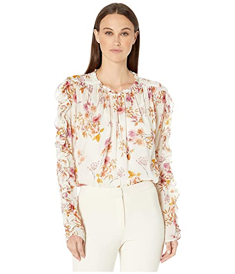 ML Monique Lhuillier Printed Ruffle Sleeve Blouse