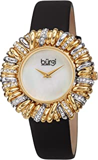 Ribbon Loop Bezel Colored Crystals Women's Watch - Gorgeous Twisted Brass Bezel with Multiple Loops and Vibrant Colored Czech Crystals On A Slim Satin Strap - BUR255