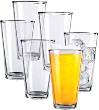 Clear Glass Beer Cups – 6 Pack – All Purpose Drinking Tumblers, 16 oz – Elegant Design for Home and Kitchen – Great for Restaurants, Bars, Parties – by Kitchen Lux