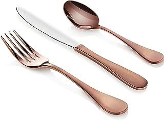 Artaste 56891 Rain 18/10 Stainless Steel Flatware 36-Piece Set, Copper Finish, Service for 12