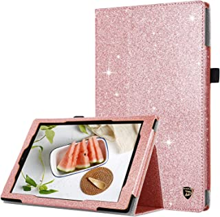 DUEDUE Case for Amazon Fire HD 10 Tablet (9th/7th/5th Generation,2019/2017/2015 Release),2 Fold Glitter PU Leather Folio Stand Cover with Stylus Holder/Auto Wake/Sleep Feature for Fire HD 10,Rose Gold