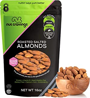 Roasted & Salted Almonds - Whole, No Shell (16oz - 1 Pound) Packed Fresh in Resealble Bag - Nut Trail Mix Snack - Healthy ...