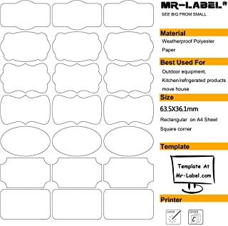Mr-Label 7 Types of Fancy Shape Waterproof Removable Adhesive Labels – Tear-resistant Stickers for Kitchen Use   Oil Bottles   Organizing and Filing - Laser Printer Only (Size: 63.536.1mm)