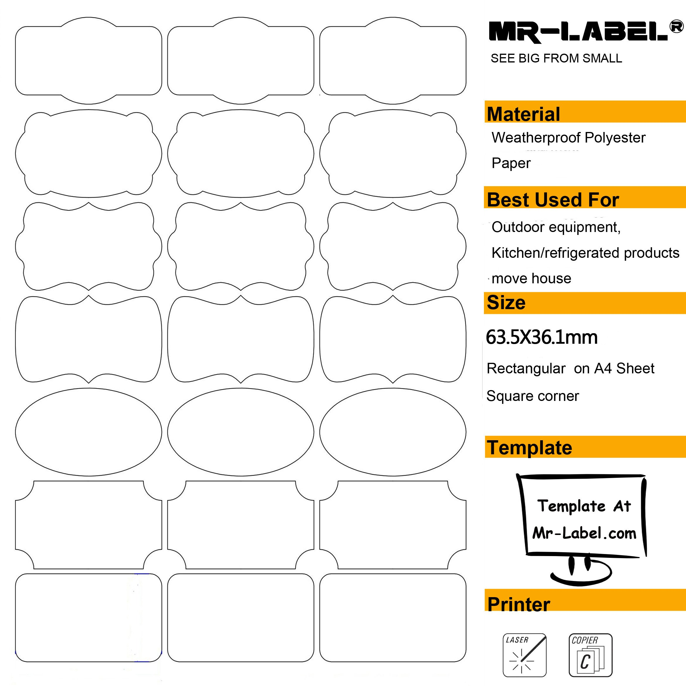 Labels With Decorative Borders All Purpose Blank Kitchen Name Organzing Stickers
