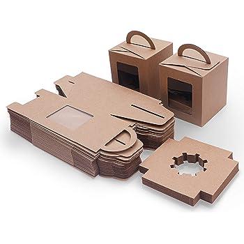 Caja Pasteleria Marrón Kraft (Pack de 50) - Caja Carton Desechable Comida para Llevar con Ventana Transparente (9,39 x 9,39 x 10,66cm) - Caja para Tartas, Cupcake, Rebanada Mini Pastel y Postres: Amazon.es: Hogar