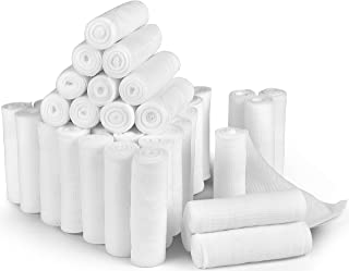 D&H Medical 24 Bulk Pack Gauze Stretch Bandage Roll, 4 Inch X 4 Yards FDA Approved, Used for Wound Care, Easy to Use Cotton Ply Rolled Hand Wrap Dressing Ankles & Knees. Add to First Aid Supplies.