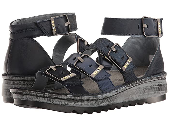 Naot  Begonia (Blue Velvet Suede/Black Nubuck/Navy Reptile Leather/Ink Leather) Womens Sandals