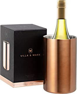 Villa & Marx Wine Bottle Chiller - Elegant Copper Finish - Double Walled, Insulated Wine/Champagne Bucket, Fits And Cools All Bottles