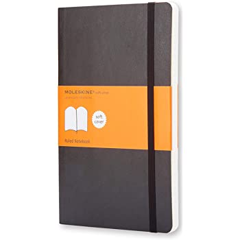 "Moleskine Classic Notebook, Soft Cover, Large (5"" x 8.25"") Ruled/Lined, Black, 240 Pages"