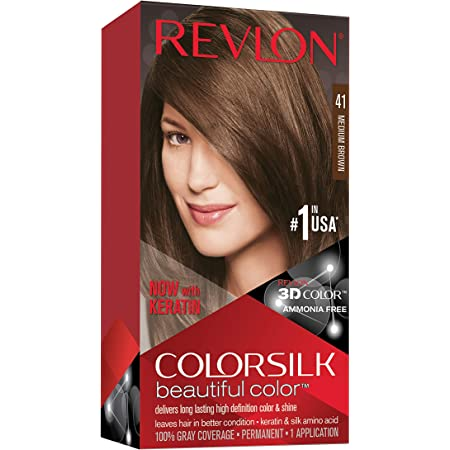 Amazon.com : REVLON Colorsilk Beautiful Color Permanent Hair Color with 3D  Gel Technology & Keratin, 100% Gray Coverage Hair Dye, 41 Medium Brown :  Chemical Hair Dyes : Beauty & Personal Care
