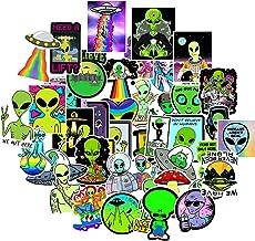 RORANIC Alien Stickers for Kids Adults,50Pcs No Duplicates Waterproof Matte Vinyl Cool Alien Stickers Pack for Water Bottle Skateboard,Alien Trippy Stickers for Boys Birthday Party Favor Gift