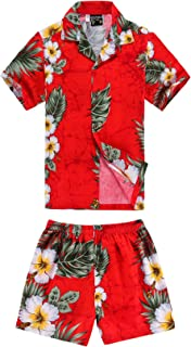 Boy Hawaiian Shirt and Shorts 2 Piece Cabana Set in Red with Panel Floral