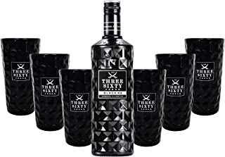 Three Sixty Black 42 Vodka 0,7l 700ml 42% Vol  6x Black Longdrink-Gläser schwarz -Enthält Sulfite