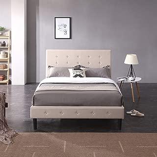 Cambridge Upholstered Platform Bed   Headboard and Metal Frame with Wood Slat Support   Linen, Queen