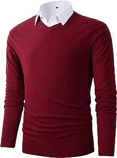 Mens Casual Slim Fit Basic Designed V-Neck Pullover Sweater