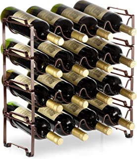 Bextsware 4 Tiers Stackable Metal Wine Rack, 16 Bottles Freestanding Holder Organizer Storage for Kitchen, Bar, Pantry, Wine Cellar, Basement, Countertop, Cabinet - Bronze